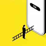 Devasa bir mobil ekranda bir düğmeye ulaşmak için merdiven kullanan kullanıcı ile Erişilebilir olmayan uygulamaların getirdiği zorluk tasbir ediliyor.